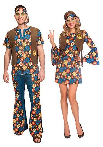 Fancy Me Disfraz de Hippie de Flores Vintage para Hombre y Mujer ...