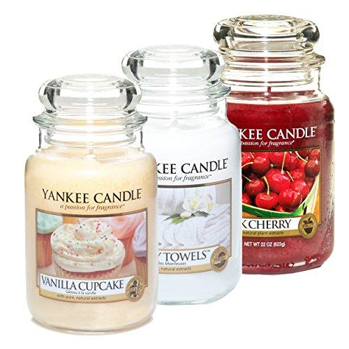 Yankee Candle Classic Housewarmer Groß, 3er Set, Vanilla Cupcake, Fluffy Towels, Black Cherry, Duftkerze