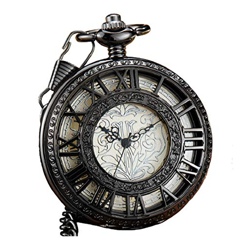 Reloj de bolsillo Viejo tallado exquisito dial mecánico bolsillo reloj fob cadena lujo hueco negro romano mano viento hombre reloj bolsillo reloj para hombres mujeres ( Color : Show as the picture )