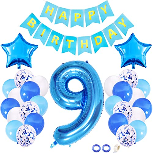 Juland 9th Birthday Decorations Kit First Birthday Party Supplies Number 9 Foil Balloon Happy Birthday Banner Star Confetti Balloons Birthday Party Decorations – Blue