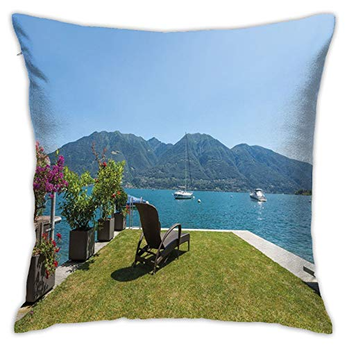 DHNKW Throw Pillow Case Cushion Cover,Outdoor Terrace Patio Flowers with Mountain Ocean Sea Scenery Image ,18x18 Inches