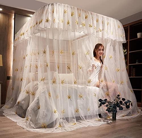 Mosquitera riel guía en Forma de U Cortina de Cama Superior Cuadrada Soporte de Acero Inoxidable mosquitera doméstica Bordado Estilo Princesa(Color:2,Size:180 * 200cm)