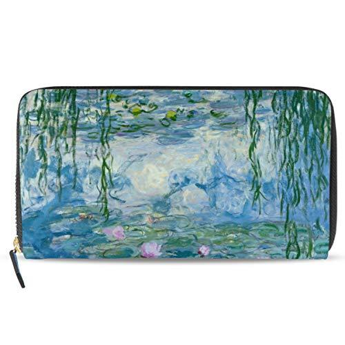 Ahomy Water Lilies by Claude Monet Dipinti A Olio Fiori Donna Borsa in Pelle Lady Carte di Credito Frizione Titolare Portafogli Lunghi