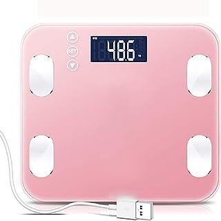 YYhkeby Escala Ultra-Delgado Digital de Peso, báscula de baño con la tecnología Paso a Paso, Alfombra de Seguridad Antideslizante y Super Vidrio Templado-Rosa Jialele (Color : Pink)