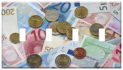 Switch Plate 4 Gang Toggle - Euro Bank Notes Coins European Currency Business