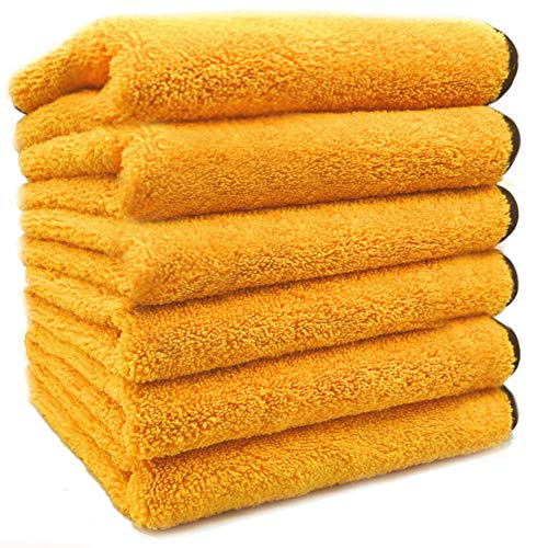 """SoLiD 6 Pack Multipurpose Plush Microfiber Edgeless Cleaning Towel for Household, Car Washing, Drying & Auto Detailing - 16"""" x 24"""""""