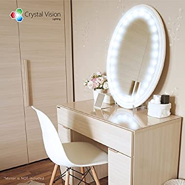 Crystal Vision Make up Mirror LED Light Kit Provided by Samsung for Cosmetic Mirror Vanity Mirror LED UL Power Supply w/ Dimmer Controller (10ft) [Cool White]