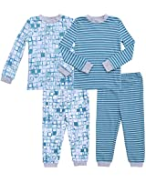 Asher and Olivia Boy Pajamas Clothes Pjs Set Sleepers Baby Toddler Footless Sleepwear Pj 12-18 Months Blue