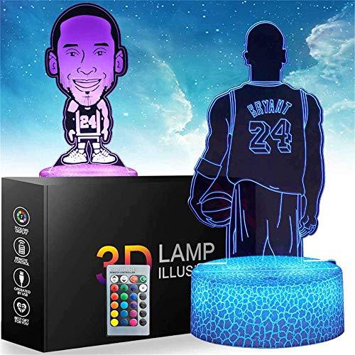 Kobe 3D luz nocturna, lámpara de ilusiones con mando a distancia, 16 colores cambiantes USB LED lámpara de escritorio decoración para niños Navidad Halloween cumpleaños