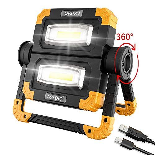LED Arbeitsleuchte, MPIO Super Hell 2000 LM 20W USB Wiederaufladbares Flutlicht, mit 2 COB-Lichtern,360 ° Drehung,Wasserdicht,3 Lichtmodi Baustrahler Arbeitslicht für Camping/Baustelle/Garage/Wandern