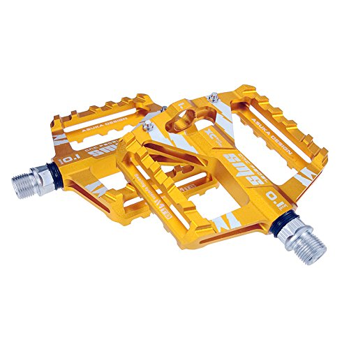"""Road Bike Pedals Aluminium Alloy Ultralight MTB Sealed Bearing Bicycle Pedal 9/16"""" Road Bike Pedals Anti-skid and Stable Mountain Bike Pedals for Mountain Bike BMX Folding Bike Road Bicycle (Yellow)"""