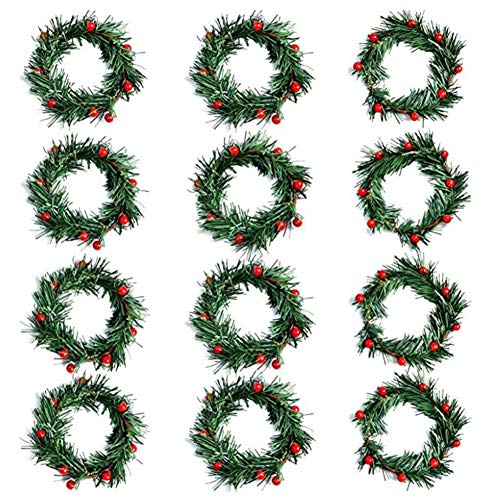 Gaoominy 12 Piezas de Anillo de Vela de Navidad con Bayas Hierbas Anillos Portavelas de Navidad Anillos de Coronas de Velas PequeeAs para Navidad
