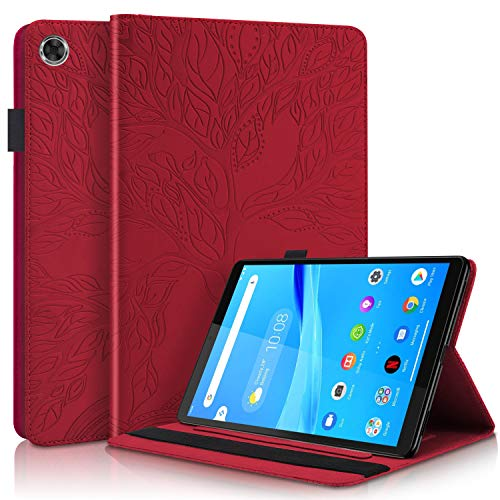 DodoBuy Case for Amazon Fire HD 10 Tablet, Life Tree Pattern Magnetic Flip Smart Cover Wallet PU Leather Bag Multi-Angle Stand with Card Slots - Red