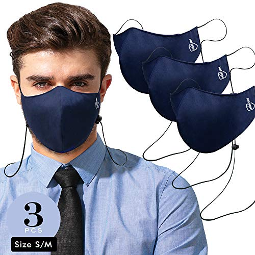 Navy Blue 100% Cotton Muslin Face Covers (Size S - 3ply Layer - Pack of 3) Cotton with Extra Slot Layer for Adding Extra Padding Outdoors & Indoors for Men, Women & Teens