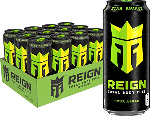 Reign Total Body Fuel, Sour Apple, Fitness & Performance Drink, 16 Fl Oz (Pack of 12)