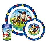 fun house 005398 pat patrouille ensemble de repas pour enfants-3 pièces, polypropylène, bleu, 26,5