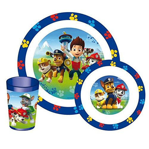 Fun House 005398 Paw Patrol Lunch-Set für Kinder, 3-teilig, Polypropylen, Blau, 26,5 x 7 x 25 cm