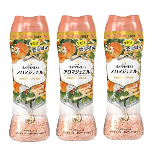 【まとめ買い】レノア ハピネス 香り付け専用ビーズ アロマジュエル アプリコット&ホワイトフローラルブーケの香り 本体 520mL×3個 (3)