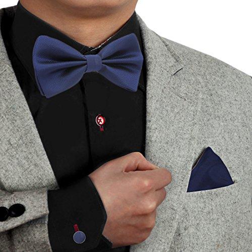 Men Bow Ties Microfibre 25.6'-Neck-Size Clip-On Adjustable Pretied Bow Tie Hankie Cufflinks Set Blue Wedding Style DBC3013 Dan Smith Midnight Blue Houndstooth