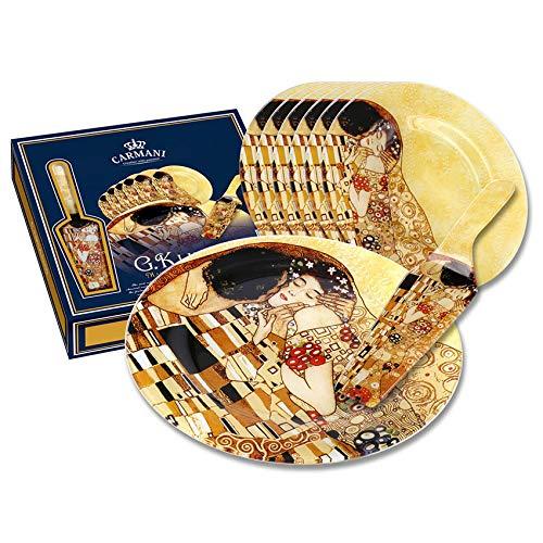 Set Juego de tartera de Cristal de la Obra El Beso de Gustav Klimt.