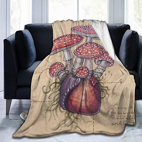 Meiya-Design - Manta de Forro Polar de 127 x 152 cm, diseño de corazón de Toadstool Amanita Muscaria en casa, de Franela, Suave, cálida, para Cama, sofá, Oficina, Camping