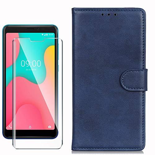 HYMY Cover per Wiko Y60 + Vetro Temperato - Blu Semplice PU Pelle + TPU Multifunzione Wallet Slot Custodia Flip Case per Wiko Y60 (5.45')