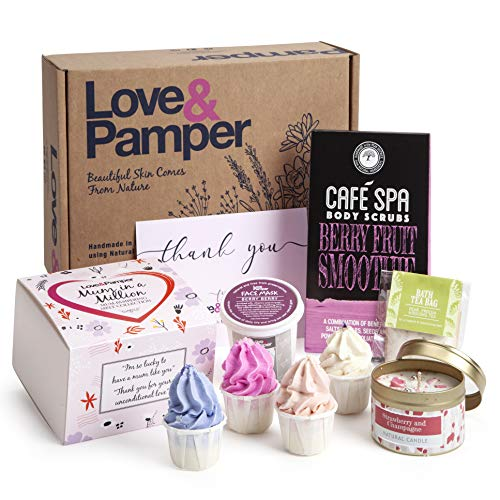 Pampering Gift For Women - 4 Relaxing Cocoa Butter Bath Melts Gift Box, Berry Fruit Body Scrub,Wild Berry Face Mask,Champagne & Strawberry Natural Soy Candle, Pear Freesia Bath Tea Bag