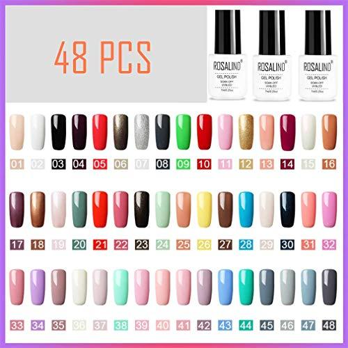 ROSALIND Smalto Semipermanente 48 Colore Smalti per Unghie in Gel UV LED Soak Off Set 7ml Varnish Manicure Salon