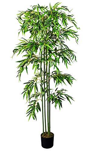 Decovego Bambus Kunstpflanze Kunstbaum Künstliche Pflanze mit Echtholz 180cm