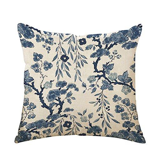 BIGBOBA - Federa per cuscino da divano, 45 x 45 cm, in lino blu e bianco, Panno, Stile E, 45*45CM