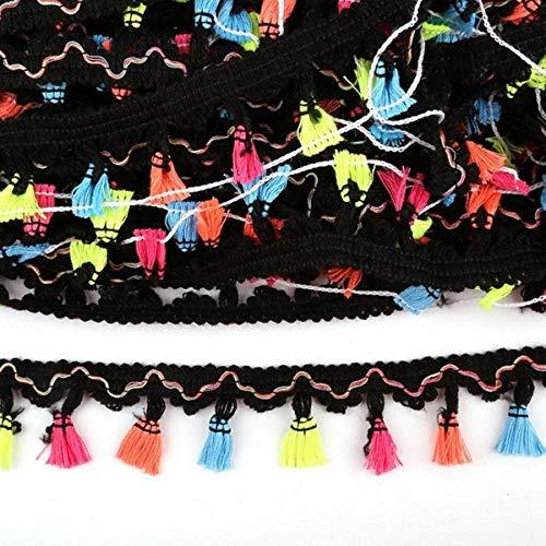 Hoge kwaliteit 2 Yards 40mm Rainbow Tassel Lace Trim Cotton Fabric Ribbon Fringe Drop Handgemaakte naaigordijnen Kledingaccessoires, zwart 1