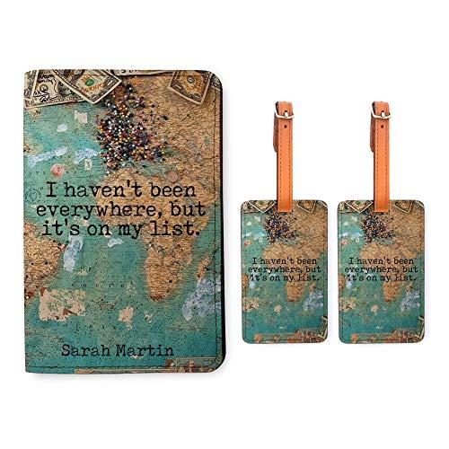 Personalized RFID Passport Holder 2 Luggage Tag Matching Set - World Map