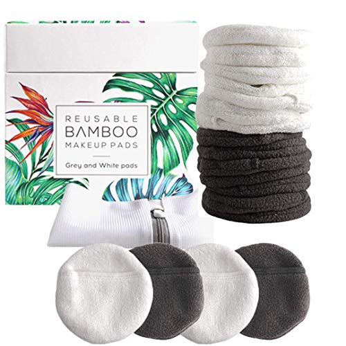 Luxury Bamboo Reusable Makeup Remover Pads, NYC, USA Brand (14 Pack), Four Layer Face Pads with Pocket - White and Grey Reusable Bamboo Face Pads - Eco-Conscious Makeup Remover Pads - Includes Mesh Washing Bag