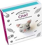 Broche crochet chat : Le kit - Avec 1 crochet en bambou, 1 support de broche, du fil gris, rose et noir