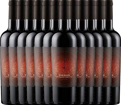 VINELLO 12er Weinpaket Rotwein - Rondeur Appassimento 2018 - La Grange mit Weinausgießer | halbtrockener Rotwein | französischer Wein aus Languedoc | 12 x 0,75 Liter