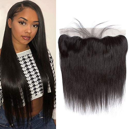 """QTHAIR 12A 13x4 Ear to Ear Lace Frontal Indian Straight Hair 10""""Indian Straight Hair 130% Density Swiss Lace Frontal Closure Ear to Ear Natural Black Color"""