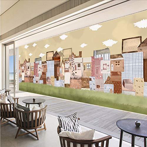 Wuyii aangepaste kinderen fotobehang cartoon stad muurschildering 3D muurschildering behang kinderkamer woonkamer 200 x 140 cm.