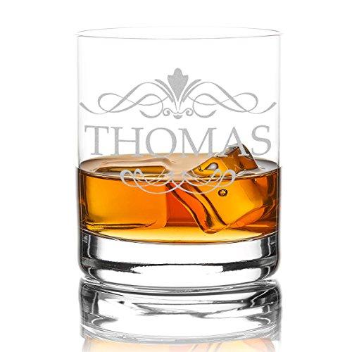 polar-effekt Whiskyglas Personalisiert 320 ml Trink-Glas für Whiskey, Rum und Scotch - Geschenk-Idee für Männer - Motiv-Gravur Ornament