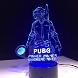 DDBBhome Coole Welt Heißen Fps-Spiel Spieler Unbekannt Schlachtfelder 3D-Lampe Pubg Gewinner Gewinner Huhn Abendessen 7 Farben Ändern LED-Lampe