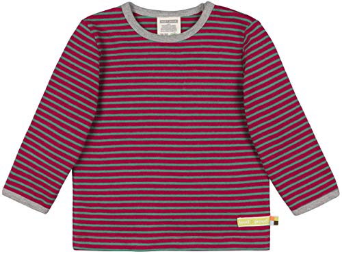 loud + proud Kinder-Unisex Shirt Ringel Aus Bio Baumwolle, GOTS Zertifiziert Sweatshirt, Rosa (Berry Ber), 80 (Herstellergröße: 74/80)