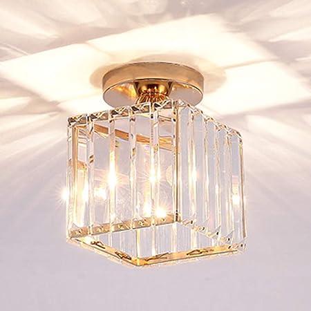 Moderne Plafonnier Industriel Lustre Abat-jour cristal en Métal E27, Suspension Luminaire éclairage pour Salon Chambre Café Bar Restaurent Salle à Manger(Non compris l'ampoule) (D'or-carré)