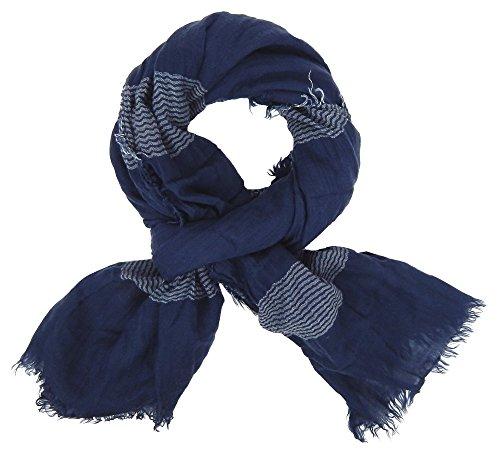 Ella Jonte Écharpes foulard d'homme élégant et tendance de la dernière collection by Casual-style bleu blanc coton