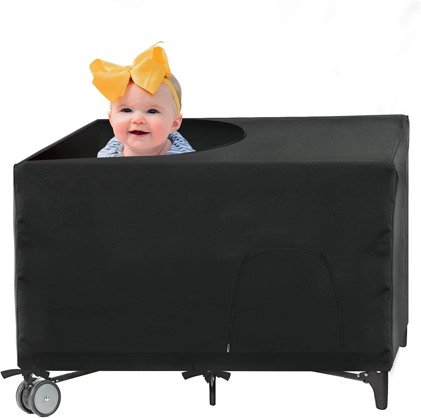 SAVITA Baby Bed Blackout Cover for Pack N Play Baby Bed, 38X27 inch Baby Bed Blackout Shade Baby Cot Net Portable Tent Breathable Bed Netting for Indoor or Outdoor Travel Baby Better Sleeping(Black)