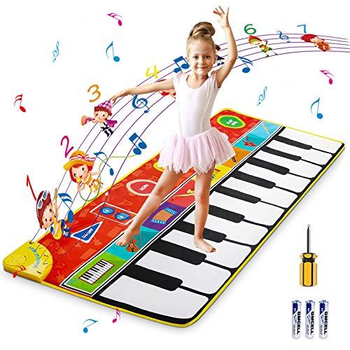 Klaviermatte, Musikmatte für Kinder Klavierspielmatte mit 19 Tasten Klaviermatte, 8 wählbare Musikinstrumente Tanzmatten, Keyboard Matte für Kinder Mädchen Jungen, 58,26 x 23,62 Zoll