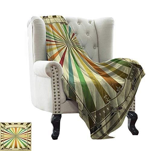 BelleAckerman - Manta de forro polar de franela, diseño vintage de arco iris, multicolor con estampado de estrellas de circo, manta de terciopelo de peluche de 70 x 90 pulgadas
