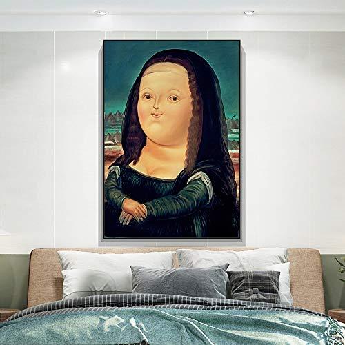 N / A Nordische lustige Kunst Mona Lisa Leinwandbilder von Fernando Botero Berühmte Wandkunst Poster und Drucke Abstrakte Kunst Bilder Cuadros 50x70CM KEIN Rahmen