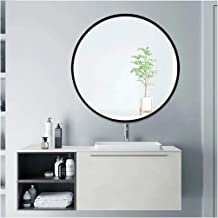 """Beauty4U Circle Mirror, 24"""" Large Round Mirror with Metal Frame, Circular Wall-Mounted Mirror for Bedroom Bathroom Decor L..."""