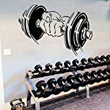 GYM Fitness Sports Logo Dumbbells Barbell Muscle Training Wall Sticker Vinilo...