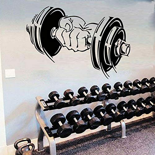 GYM Fitness Sports Logo Dumbbells Barbell Muscle Training Wall Sticker Vinilo Art Decal Dormitorio Sala de estar Sala de entrenamiento Bodybuilding Club Home Decor Mural