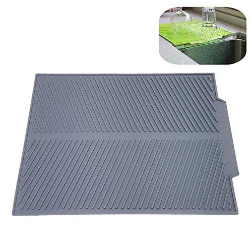 Tappetino in silicone grigio per piatti, tazze e utensili da cucina, 43,2 x 33 cm, facile da pulire, resistente al calore, antibatterico